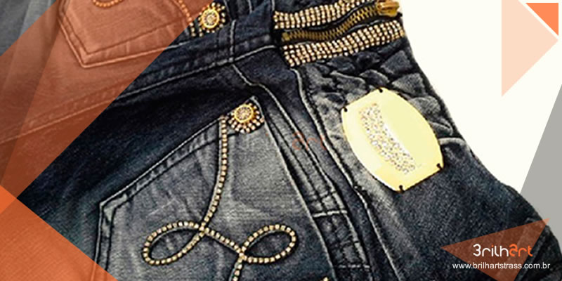 Manta de strass para customizar o jeans